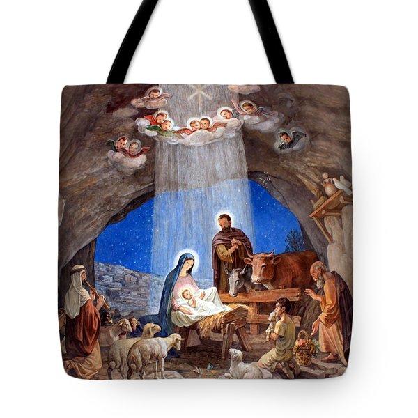 Shepherds Field Nativity Painting Tote Bag