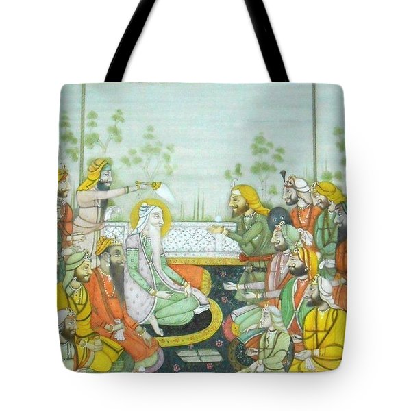 Sher A Punjab Sikh Maharaja Ranjit Singh Court Scene Miniature Painting Of India Watercolor Artwork Tote Bag