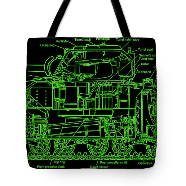 Tote Bag featuring the drawing Sherman M4a4 Tank by Robert Geary