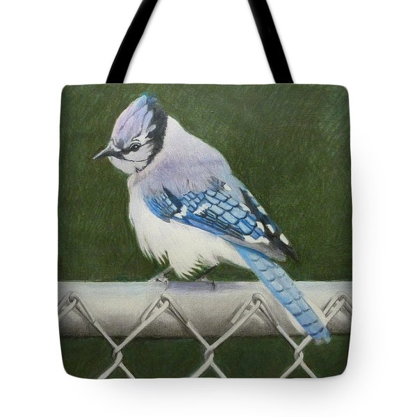 Tote Bag featuring the painting Sherrie's Bluejay by Constance DRESCHER