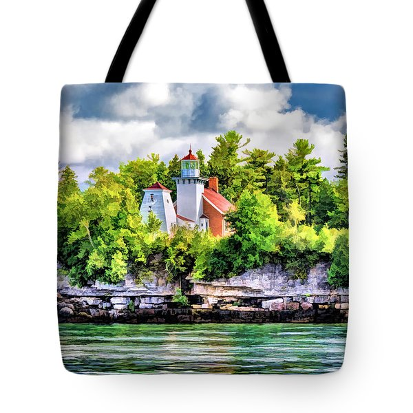 Tote Bag featuring the painting Sherwood Point Lighthouse by Christopher Arndt