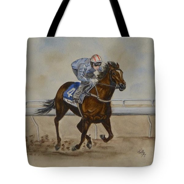 She's Taking The Lead ... Horserace Tote Bag by Kelly Mills