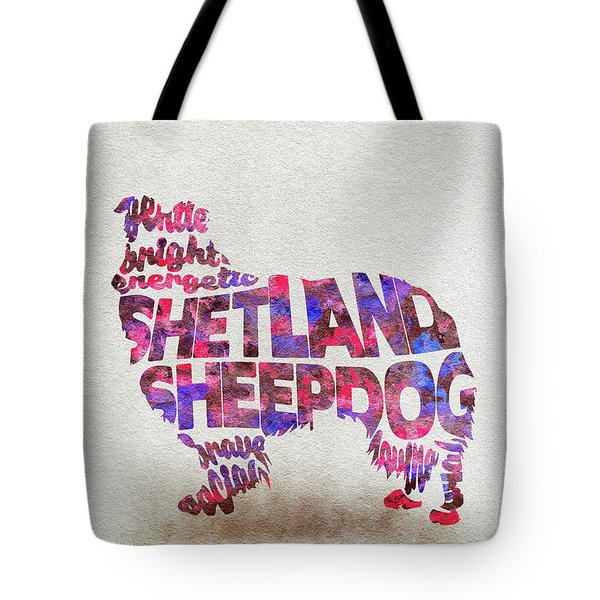 Tote Bag featuring the painting Shetland Sheepdog Watercolor Painting / Typographic Art by Inspirowl Design