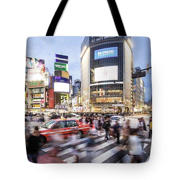 Shibuya Crossing At Night In Tokyo Tote Bag