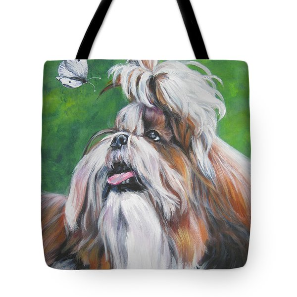 Shih Tzu And Butterfly Tote Bag by Lee Ann Shepard