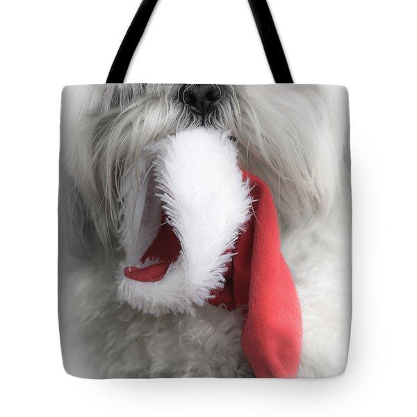 Shih Tzu Christmas White Vignette Tote Bag