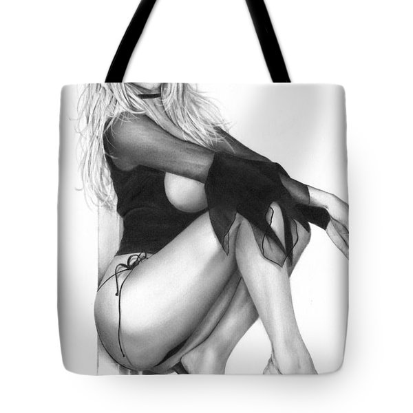 Tote Bag featuring the drawing Shimmer by Pete Tapang