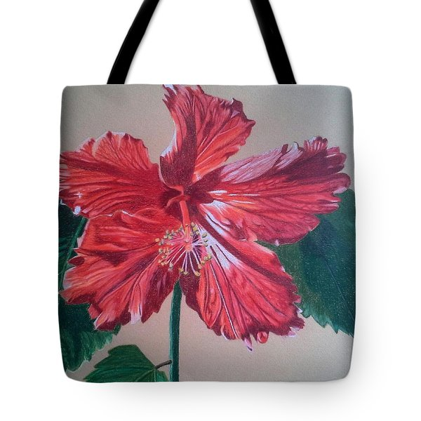 Shimmer - Red Hibiscus Tote Bag