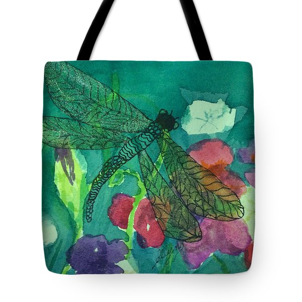 Shimmering Dragonfly W Sweetpeas Square Crop Tote Bag