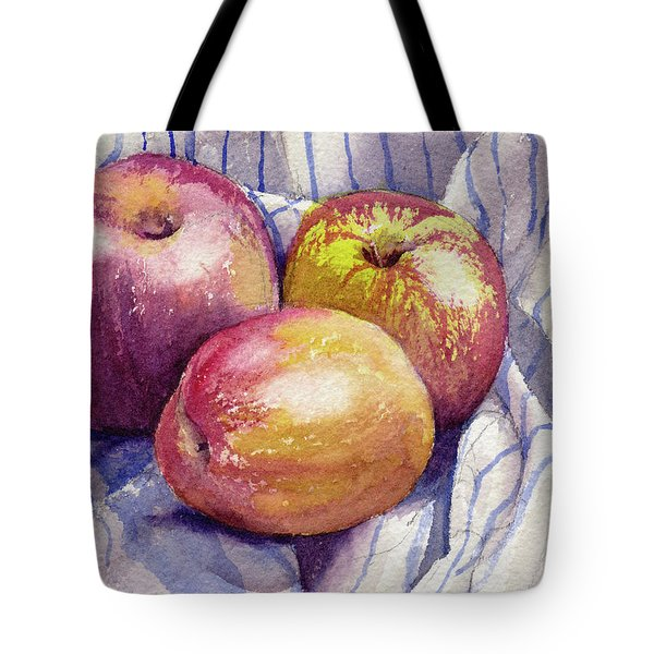 Tote Bag featuring the painting Shine On 3 Apples by Kris Parins