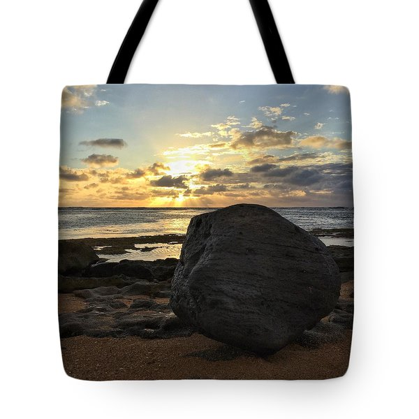 Shining Over The Boulder  Tote Bag