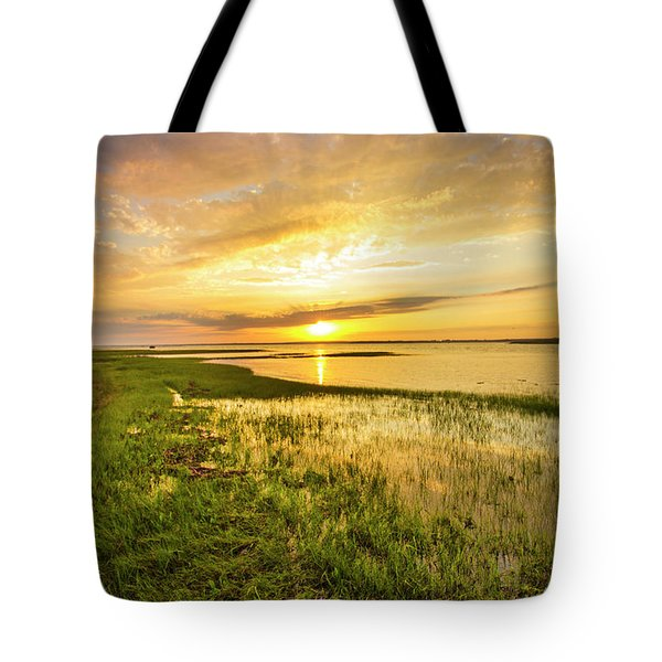 Shinnecock Bay Wetland Sunset Tote Bag