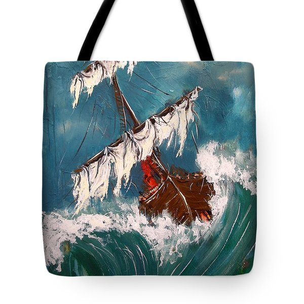 Ship In A Storm Tote Bag