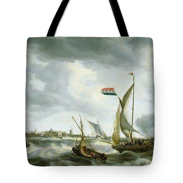 Ships At Sea  Tote Bag by Bonaventura Peeters