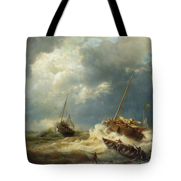 Ships In A Storm On The Dutch Coast Tote Bag by Andreas Achenbach