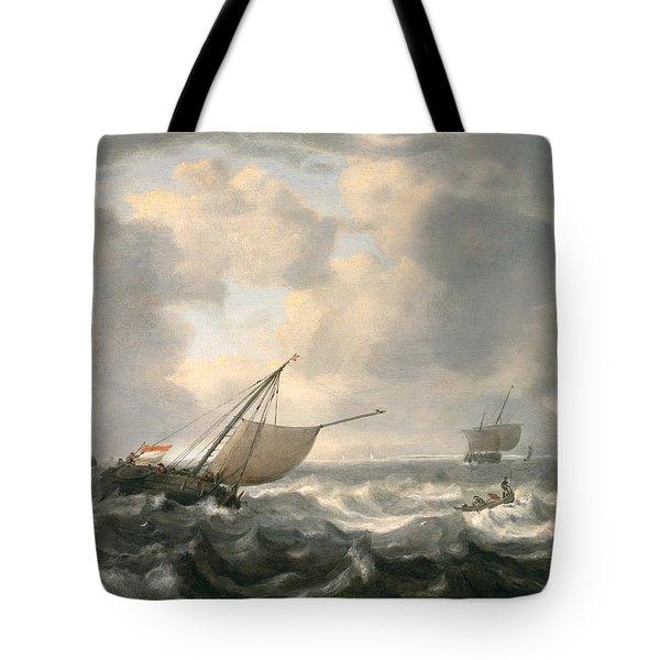 Ships On A Choppy Sea Tote Bag by Hendrik van Anthonissen
