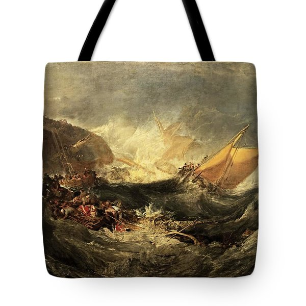 Tote Bag featuring the painting Shipwreck Of The Minotaur by J M William Turner