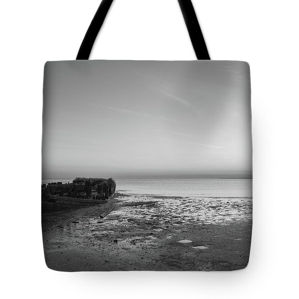 Shipwreck Panorama Bw Tote Bag