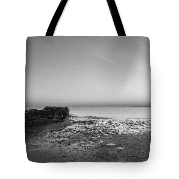 Shipwreck Panorama Bw Tote Bag