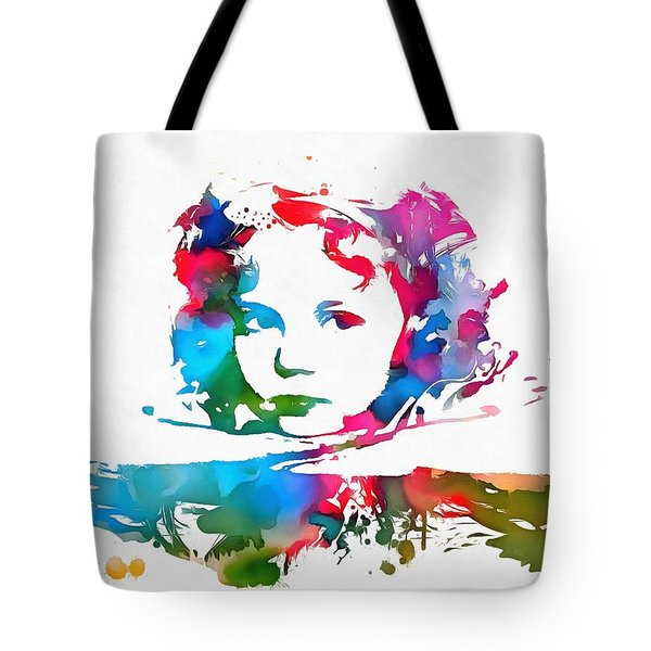 Shirley Temple Watercolor Paint Splatter Tote Bag