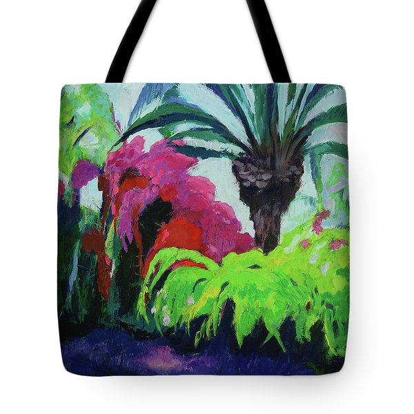 Tote Bag featuring the painting Shirley's Garden by Jillian Goldberg