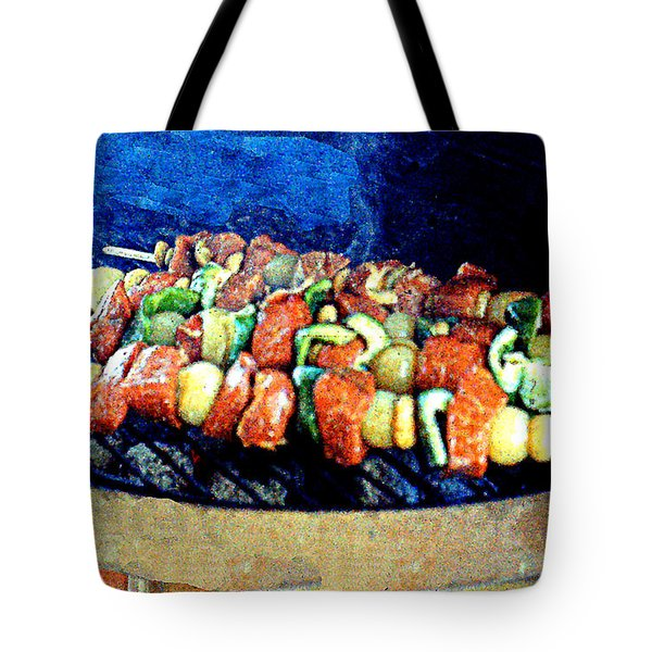 Tote Bag featuring the photograph Shish-ka-bob On The Grill by Merton Allen