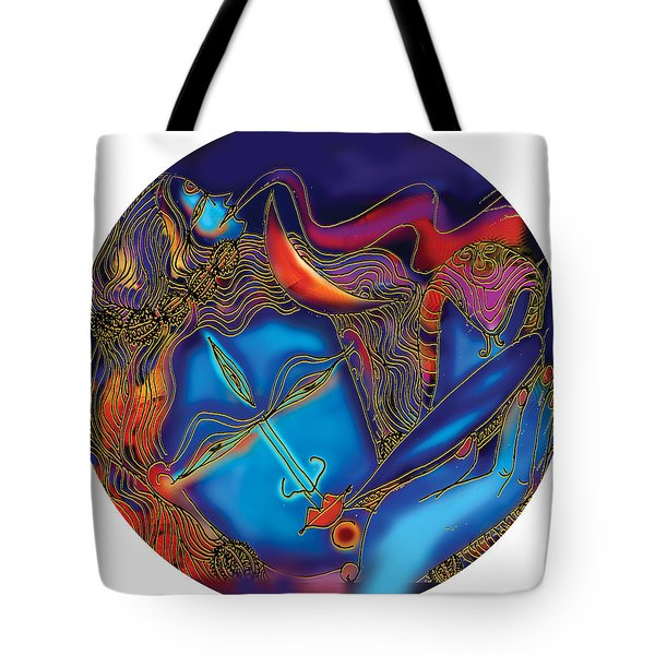 Shiva Blowing The Horn Tote Bag