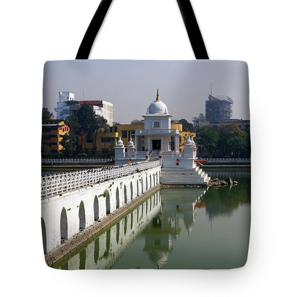Tote Bag featuring the photograph Shiva Temple In Lake Rani Pokharil, Kathmandu, Nepal by Aidan Moran