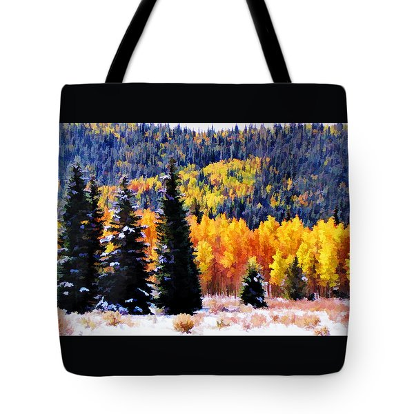 Shivering Pines In Autumn Tote Bag