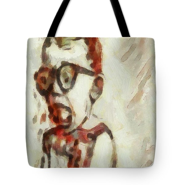 Shocked Scared Screaming Boy With Curly Red Hair In Glasses And Overalls In Acrylic Paint As A Loose Tote Bag by MendyZ