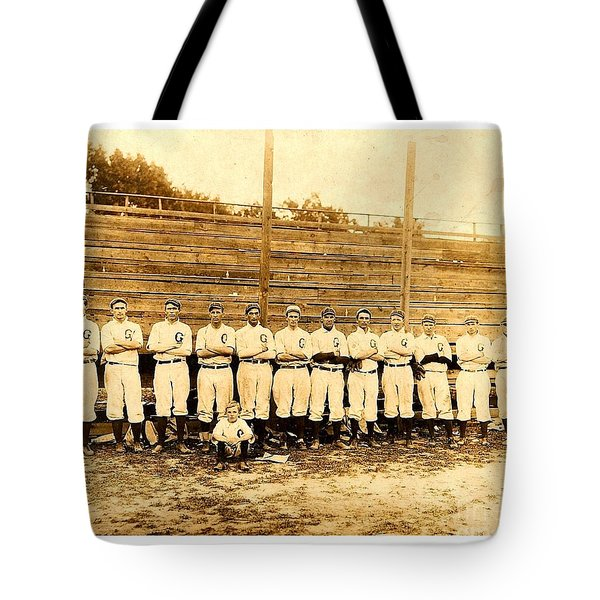 Tote Bag featuring the photograph Shoeless Joe Jackson Age 19 With His Greenville South Carolina Baseball Team 1908 by Peter Gumaer Ogden