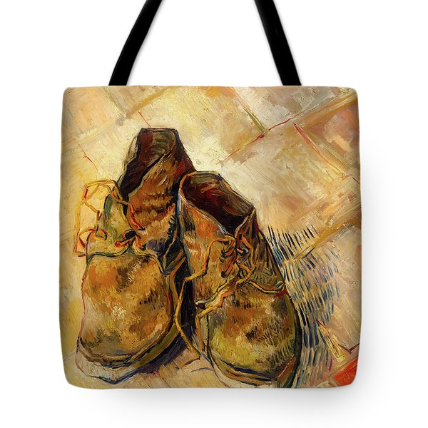 Tote Bag featuring the painting Shoes                                   by Vincent van Gogh