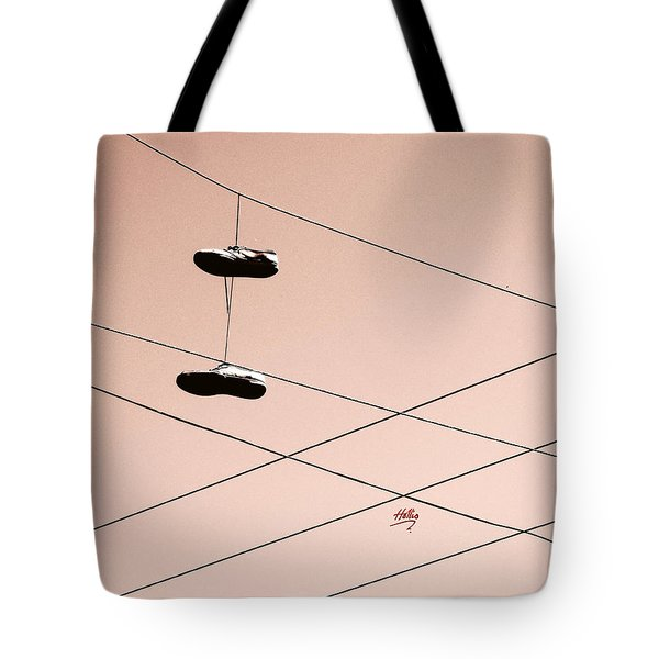 Shoes On A Wire Tote Bag by Linda Hollis