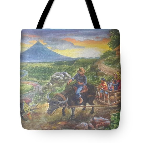 Shopping Family In Mall Tote Bag by Manuel Cadag