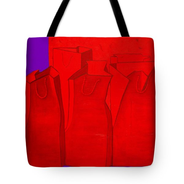 Shopping In Red Tote Bag