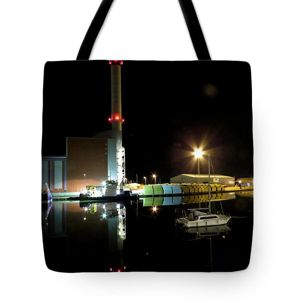 Shoreham Power Station Night Reflection 2 Tote Bag