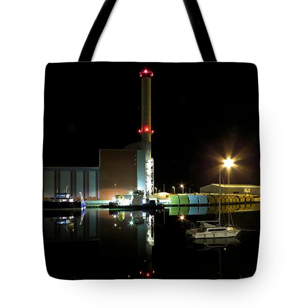 Shoreham Power Station Night Reflection Tote Bag