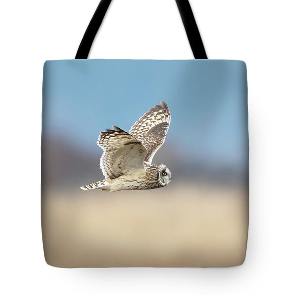 Tote Bag featuring the photograph Short-eared Owl In Flight by Angie Vogel