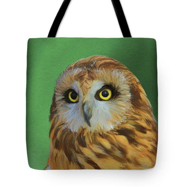 Short Eared Owl On Green Tote Bag by Dan Sproul
