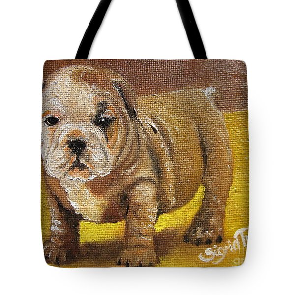 Chloe The   Flying Lamb Productions      Shortstop The English Bulldog Pup Tote Bag