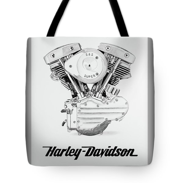 Harley Turbo Shovelhead: Pencil Drawing Motorcycle Tote Bags