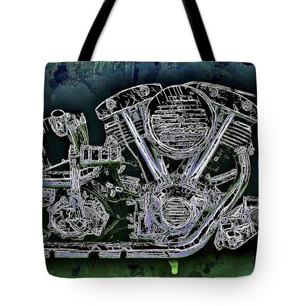 Harley - Davidson Shovelhead Engine Tote Bag