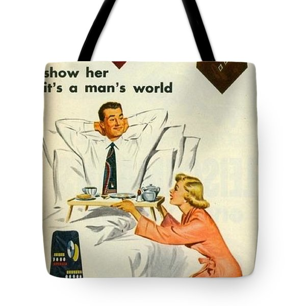 Tote Bag featuring the digital art Show Her It's A Man's World by Reinvintaged