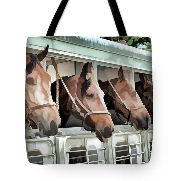Show Horses On The Move  Tote Bag by Wilma Birdwell