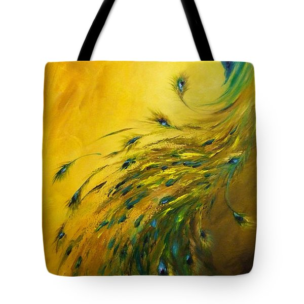 Tote Bag featuring the painting Show Off 1 Vertical Peacock by Dina Dargo
