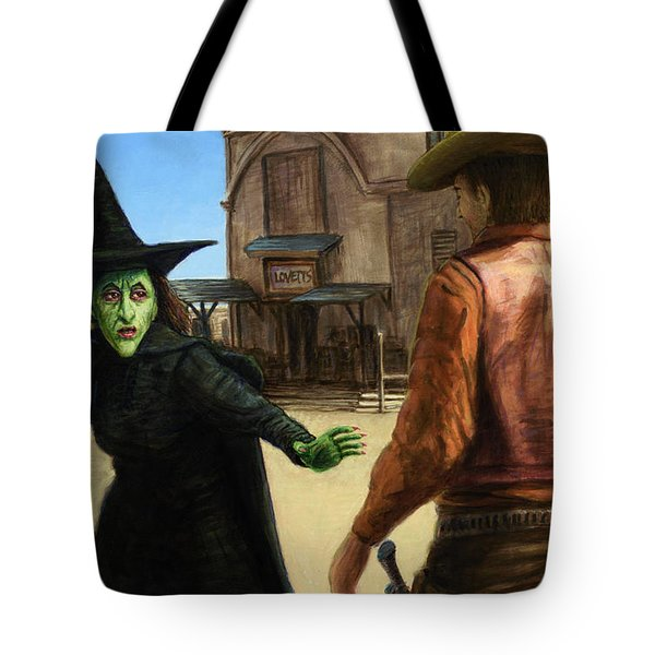 Tote Bag featuring the painting Showdown by James W Johnson