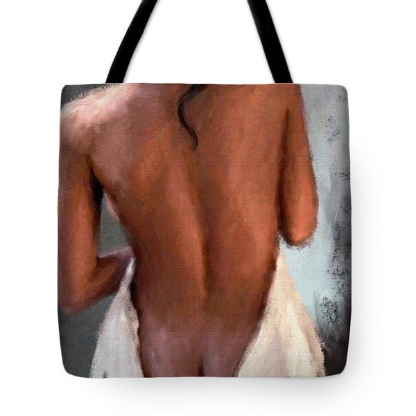 Girl Draped In Towel Tote Bag
