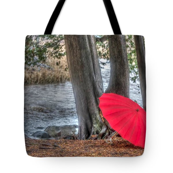 Showers At The River Tote Bag