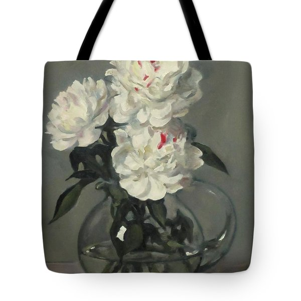 Showy White Peonies In Glass Pitcher Tote Bag