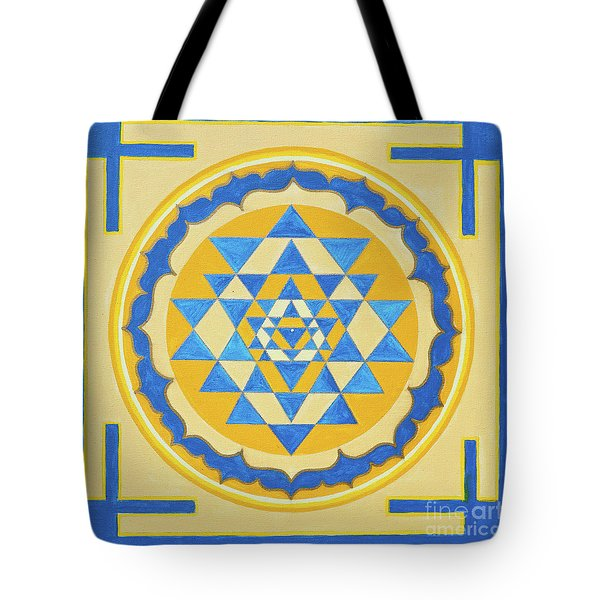 Shri Yantra For Meditation Painted Tote Bag